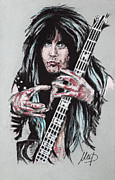 Celebrities Pastels Posters - Blackie Lawless Poster by Melanie D