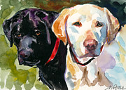 Labrador Retrievers Prints - Blacklight Print by Molly Poole