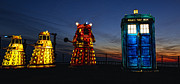 Dr. Who Framed Prints - Blackpool Illuminations Dr Who Tardis and Daleks Framed Print by Ian Monk