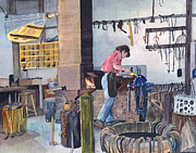 Cooperstown Painting Originals - Blacksmith by Carol Burghart