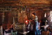 Metalworker Framed Prints - Blacksmith - Cooking with the Smiths  Framed Print by Mike Savad