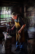 Old Person Framed Prints - Blacksmith - Starting with a bang  Framed Print by Mike Savad