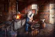 Fire Framed Prints - Blacksmith - The Smith Framed Print by Mike Savad