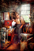 Old-fashioned Digital Art Prints - Blacksmith - The Smithy  Print by Mike Savad
