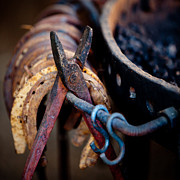 Horse Shoe Framed Prints - Blacksmith Tools Framed Print by Art Block Collections