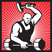 Blacksmith Posters - Blacksmith With Hammer Striking Barbell Poster by Aloysius Patrimonio