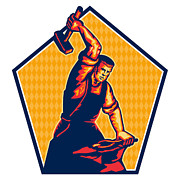 Blacksmith Prints - Blacksmith Worker Striking Sledgehammer Anvil Retro Print by Aloysius Patrimonio