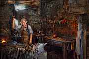 Forge Framed Prints - Blacksmith - Working the forge  Framed Print by Mike Savad