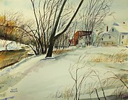 Cartoonist Painting Framed Prints - Blackstone River Snow  Framed Print by Scott Nelson