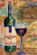 California Vineyard Paintings - Blackstone Wine by Tamyra Crossley