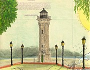 East Coast Lighthouse Paintings - Blackwell Island Lighthouse NY Chart Map Art by Cathy Peek