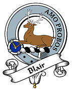 Genealogy Prints - Blair Clan Badge Print by Heraldry