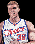 Clippers Framed Prints - Blake Griffin Framed Print by Israel Torres
