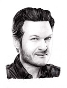 Blake Drawings Prints - Blake Shelton Print by Rosalinda Markle