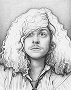 Graphite Portraits Drawings - Blake - Workaholics by Olga Shvartsur