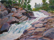 Fresh Green Painting Posters - Blakiston Falls Poster by Mohamed Hirji