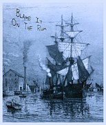 Pirate Ship Posters - Blame It On The Rum Schooner Poster by John Stephens