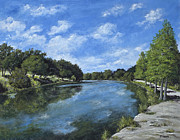 Live Oak Trees Paintings - Blanco River  by Burt Oatman