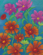 Cosmos Pastels - Blanket Flowers and Cosmos by Anne Katzeff