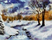 Snow-covered Landscape Painting Posters - Blanket of Snow Poster by Elizabeth Coats