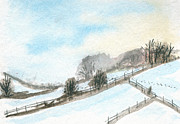Pasture Scenes Painting Posters - Blanket of Snow Poster by R Kyllo