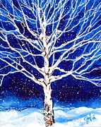 Snowy Night Paintings - Blanket of Stillness by Jackie Carpenter