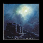 Moonscape Paintings - Blarney Castle by James Christopher Hill