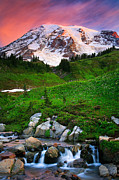 Cascade Mountains Prints - Blazing Dawn Print by Inge Johnsson