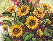 Blazing Sunflowers Print by Paul Brent