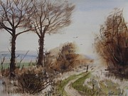 Nature Walks Paintings - Bleak Midwinter Walk by Martin Howard