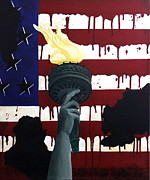 Patriotic Paintings - Bleeding For Freedom by D L Gerring