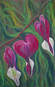 Pink Blossoms Pastels Posters - Bleeding Hearts Barbaras Garden Poster by Jocelyn Paine