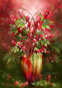 Romantic Floral Posters - Bleeding Hearts In Heart Vase Poster by Carol Cavalaris