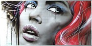 Portraiture Art Posters - Bleeding Rose Poster by Christian Chapman Art
