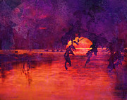 Foggy Digital Art Prints - Bleeding Sunrise Abstract Print by J Larry Walker