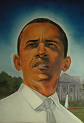 President Obama Pastels Prints - Bless Mr.Obama Print by Joyce Hayes