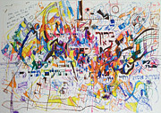 Jewish Art Drawings - Blessed is our G-d Who created us for His glory by David Baruch Wolk