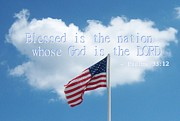 King James Digital Art Prints - Blessed is the Nation Whose God is the Lord Print by Sabrina G