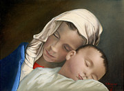 Christmas Card Painting Originals - Blessed Mother Mary and Jesus by Cecilia  Brendel