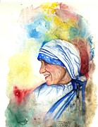 Mother Teresa Framed Prints - Blessed Mother Teresa Framed Print by Laura LaHaye