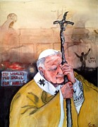 Berlin Germany Painting Posters - Blessed Pope John Paul II and Collapse of Berlin Wall Poster by Laura LaHaye
