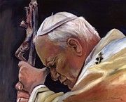 Religious Art Painting Prints - Blessed Pope John Paul II  Image 2 Print by Sheila Diemert