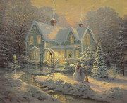 Cottage Framed Prints - Blessing of Christmas Framed Print by Thomas Kinkade