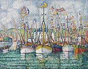 Sailboat Ocean Framed Prints - Blessing of the Tuna Fleet at Groix Framed Print by Paul Signac