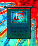 Sailboat Ocean Tapestries - Textiles Prints - Blessings 1 Print by Sue Duda