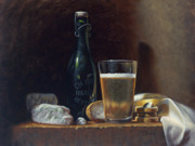 Glass Bottle Painting Posters - Bleu Cheese and Beer Poster by Timothy Jones