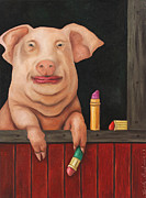 Pig Posters - Blind Date Poster by Leah Saulnier The Painting Maniac