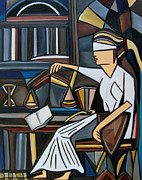 Justice Paintings - Blind Justice by Karen Serfinski