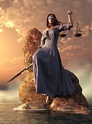 Trial Digital Art Prints - Blind Justice with Scales and Sword Print by Daniel Eskridge