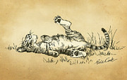 Pen And Ink Drawing Digital Art Metal Prints - Bliss in the Grass Metal Print by Evie Cook